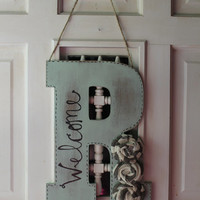 Mint distressed initial door hanger with burlap, door hanger, monogram door hanger, initial, monogram, door decor, welcome wreath