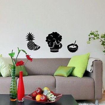 WALL VINYL STICKER DECAL DESIGN INTERIOR Glass of Beer Coco Pineapple SV2342