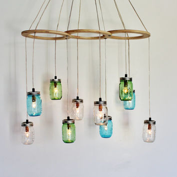 Sea Glass Canopy MASON JAR CHANDELIER - Upcycled Handcrafted BootNGus Hanging Lighting Fixture - Rustic Modern Country Home Mason Jar Lamp