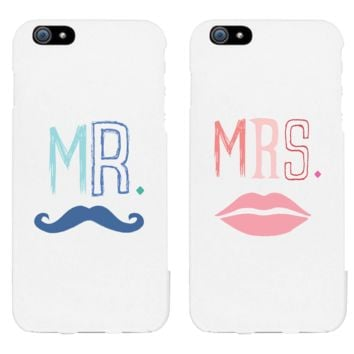 Mr. Blue Mustache & Mrs. Pink Lips Matching Couple White Phonecases (Set)