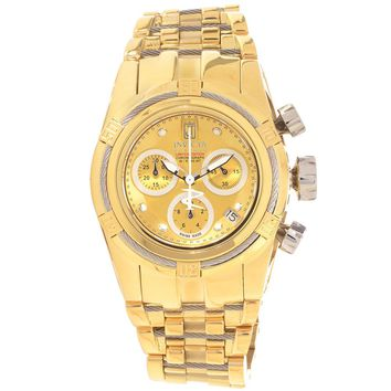 Invicta 14608 Women's Jason Taylor Bolt Zeus Chronograph Gold Dial Gold Tone Steel Dive Watch