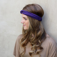 PurpleTwisted Knotted Turband Headband Head Scarf Hair Covering