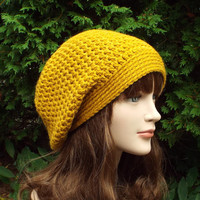 Mustard Yellow Slouch Beanie - Womens Slouchy Crochet Hat - Ladies Oversized Cap - Chunky Hat