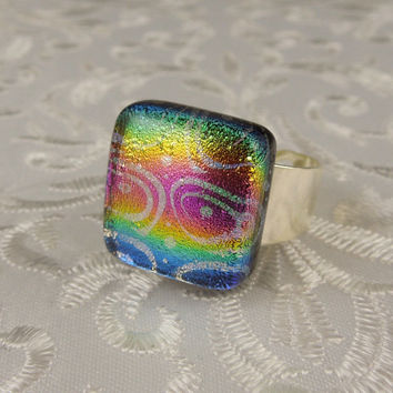 Fused Glass Ring - Dichroic Fused Glass Ring - Large Jewelry - Geekery Jewelry - Metal Ring - Dichroic Jewelry - Glass Ring  X4287