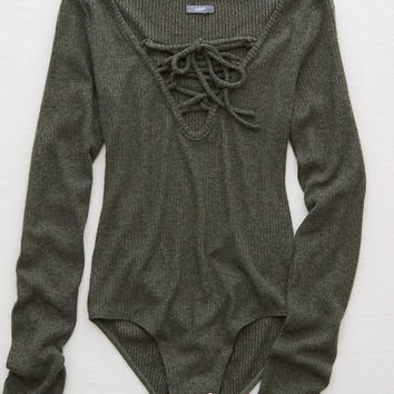 Aerie Lace-Up Bodysuit , Camo Green