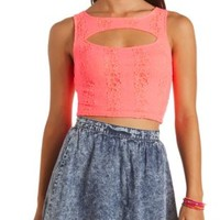 Cut-Out Lace Crop Top by Charlotte Russe - Neon Coral