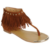 SALE Brown Fringe Sandals