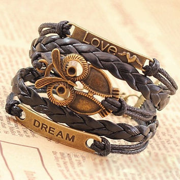 Multi-Layer PU Leather Bangle Bronze Owl Wristband Bracelet (Size: M, Color: Black) [7654209862]