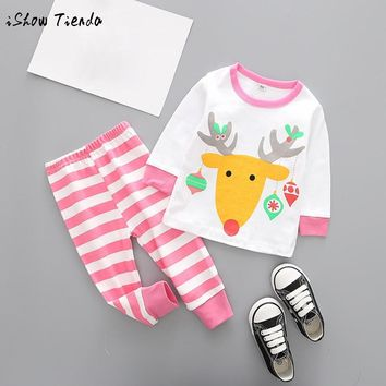 Toddler Kid Baby Girl Boy Christmas Suit Outfits Clothes Deer print long sleeve T-shirt Top+Striped Pant Set winter costume wear