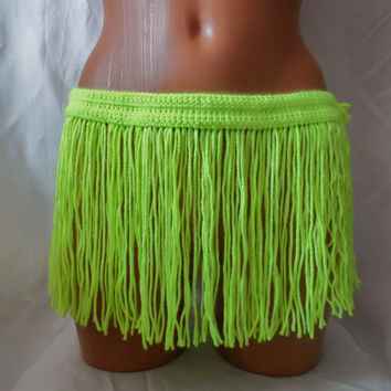 CROCHET FRINGES SKIRT Mini Skirt Belt Summer Festival Crochet Neon Yellow Hippie Belt Crochet Belt Hawaii Skirt Coachella Dance Fringe Belt