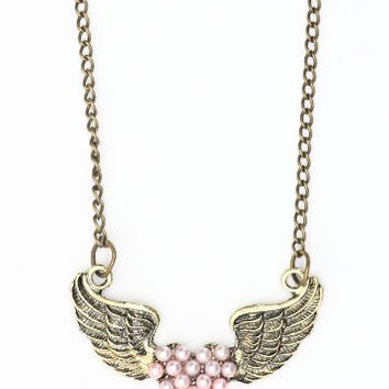 Angel Wings Heart Necklace Pink Faux Pearl Pendant NB40 Statement Fashion Jewelry