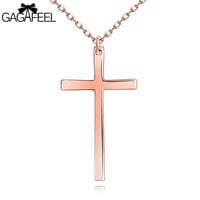 Fashion Lady Female Rose Gold Plated Fine Jewelry Cross Charm Pendant Necklace For Women Luxury Gold Bless Birthday Gifts N023 Alternative Measures
