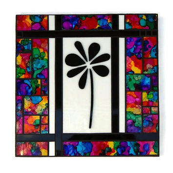 "Mosaic Art Glass Wall Panel ""Wish"", 12"" x 12"" Original 3D Hand Painted Stained Glass Mosaic Contemporary Abstract Hanging Wall Art"