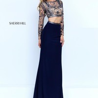 Sherri Hill Navy Beaded Dress 50097