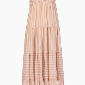 Nefasi Empire Maxi Dress - Coral Stripe Print