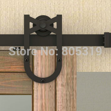 Horseshoe American Style Sliding Barn Wood Door Hardware Rustic Black Vantige Barn Door Sliding Track