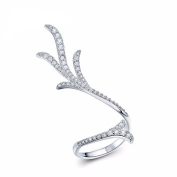 White Gold Plated AAA+ Cubic Zirconia  Pave Ring