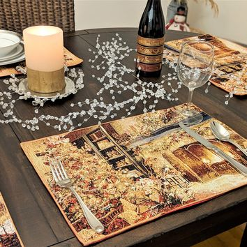 """DaDa Bedding Golden Christmas Placemats, Set of 4 Holiday Tapestry 13"""" x 19"""" (14604)"""