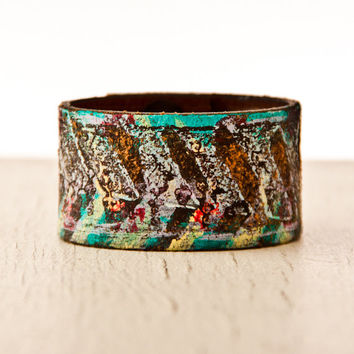 Leather Wrist Cuff Bracelet / Upcycled, Bohemian, Handmade, Eco Fashion, Women's Unique Shopping Sale Sale