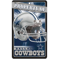 Dallas Cowboys NFL Property Of Plastic Sign (7.25in x 12in)