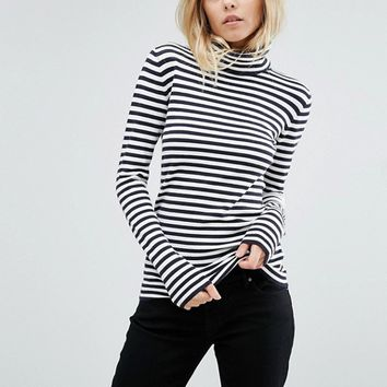Boss Orange Polo Neck Stripe Knit at asos.com