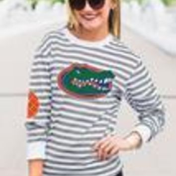 Game Day Striped Elbow Patch Tee