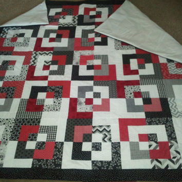 Modern Style quilt, Red Black and White, ,Made to Order,  any rainbow colors in an art deco style