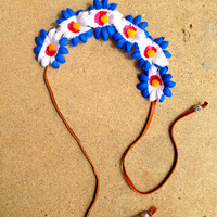 Colorado Flag Daisy Headband Festival Crown
