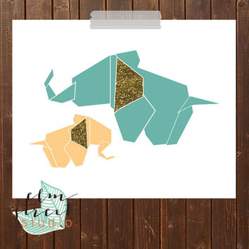Big Elephant Little Elephant Illustration Print/ Origami Elephant Print/ Nursery Print/ Nursery Decor/ Elephant Print/ Gold Glitter Print