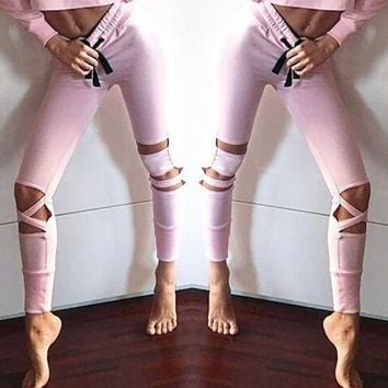 Leesa Pink Yoga Leggings - Women's Workout Leggings Fitness Sports Gym Running Yoga Athletic Pants Trouser