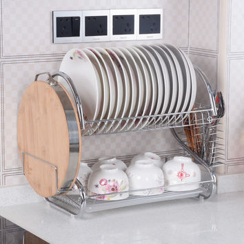 S-Shaped Dish Rack Set  2-Tier Chrome Stainless Plate Dish Cutlery Cup Rack with Tray steel drain bowl rack  kitchen dish shelf