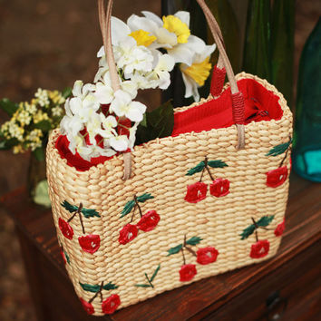 1970's Weave basket style Picnic bag with Cherry by willowmillie