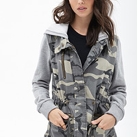 FOREVER 21 Hooded Camo Utility Jacket Olive/Heather Grey