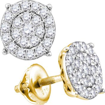 10kt Yellow Gold Women's Round Diamond Cindy's Dream Cluster Earrings 1/2 Cttw