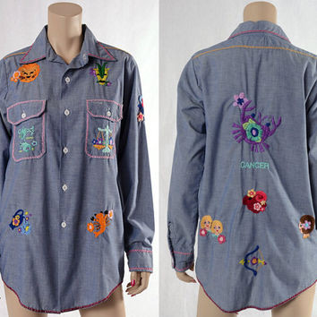 Vintage 60s 70s Chambray Work Shirt Embroidered Horoscope Zodiac 1960s 1970s Western Cowboy Ranch Chore Shirt Rockabilly Top Blouse