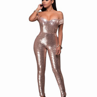 Women Sequin Jumpsuit Black/Gold Sexy Strapless Bodycon Jumpsuit 2017 New Arrival Women's Fashion Party Club Romper Overalls