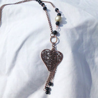 "Antique Brass Necklace with Heart Charm & Chain Accents, ""Melanie"""