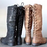 laced up weathered riding boots - 2 colors