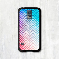 Samsung Galaxy s5 case - Abstract Mint Purple & Coral Chevron, Galaxy s5 cover