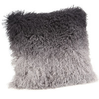 Lamb Fur Pillow Grey Spectrum 100% Wool Front 100% Polyester Back