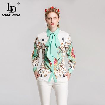 LD LINDA DELL Fashion Women Blouse Long Sleeve Bow Collar Shirts Print Vintage Blouses Tops High Quality