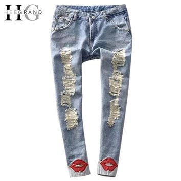 HEE GRAND 2017 Spring Pencil Pant Hot Trend Women's Jean Pants Red Lips Washed Ripped Denim Skinny Calca Jeans Feminina WKN089