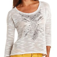 Tribal Studded Sheer Slub Knit Top by Charlotte Russe