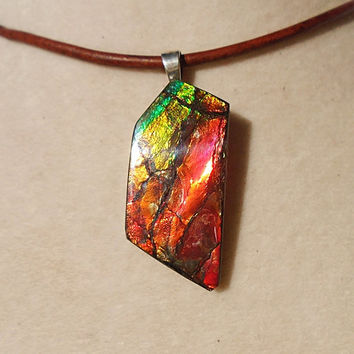 Canadian Ammolite Pendant With Leather Necklace 18 Inches