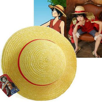 Hot Sale Luffy Hat - Handmade One Piece Monkey D Luffy Straw Hat Cosplay Yellow Cap