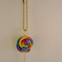 FREE U.S. Shipping! *** Candy Scented LOLLIPOP Charm on Keychain *** Kawaii * polymer clay, ball chain, split ring