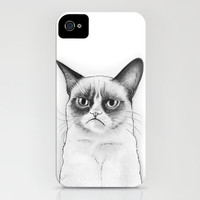 Tard The Grumpy Cat Drawing iPhone Case by Olechka | Society6