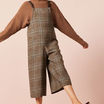 Plaid Culotte Overalls