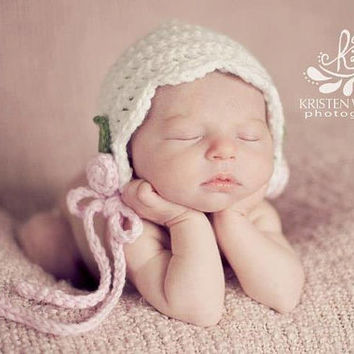 White Baby Bonnet, Crochet Baby Girl Hat, Newborn Hat, Photo Prop