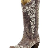 Women's Brown Crater Bone Embroidery Snip Toe Boot - A1094